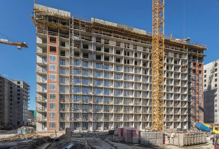 Завершены работы по устройству стен и плит перекрытий на уровне 10-12 этажей.