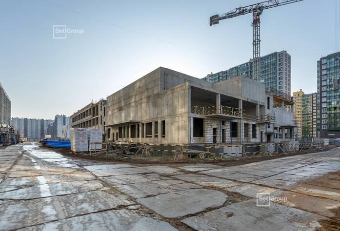 Продолжаются работы по устройству монолитных конструкций надземной части здания 3 и 4 блоков на уровне 3 этажа.