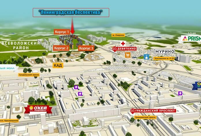 Схема ЖК «Ленинградская перспектива»