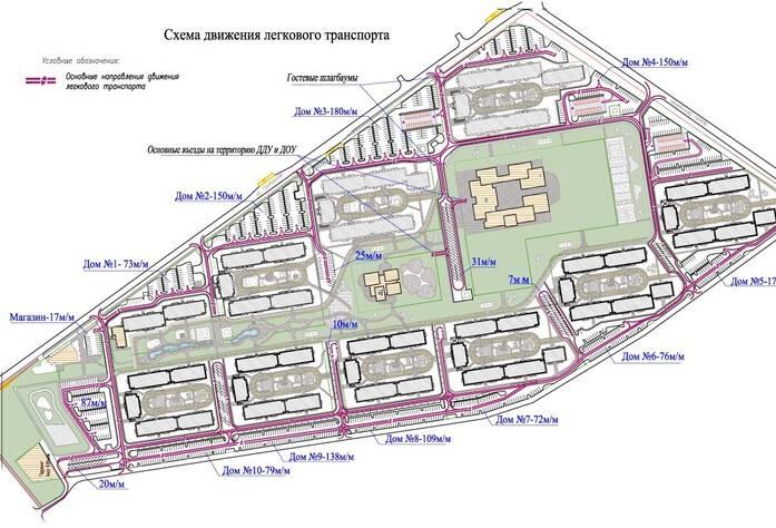 Схема движения легкового транспорта в ЖК «Финский городок Юттери»