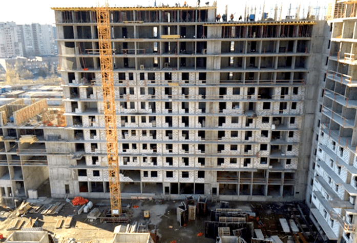 Строительство ЖК «Граффити». Дом 1.1 (октябрь, 2014).