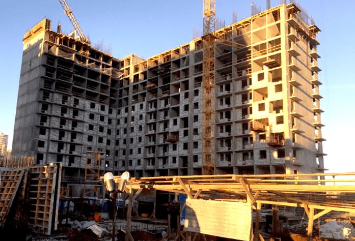 Строительство ЖК «Граффити». Дом 1.2 (октябрь, 2014).