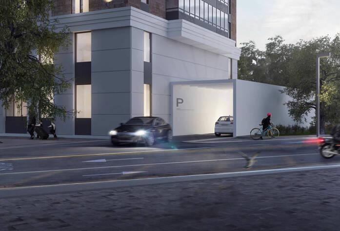 ЖК «Bau Haus» (визуализация, въезд в паркинг)