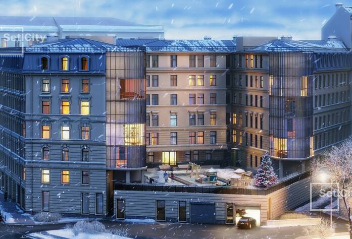 ЖК «Дом у Ратуши»: вид зимой (визуализация)