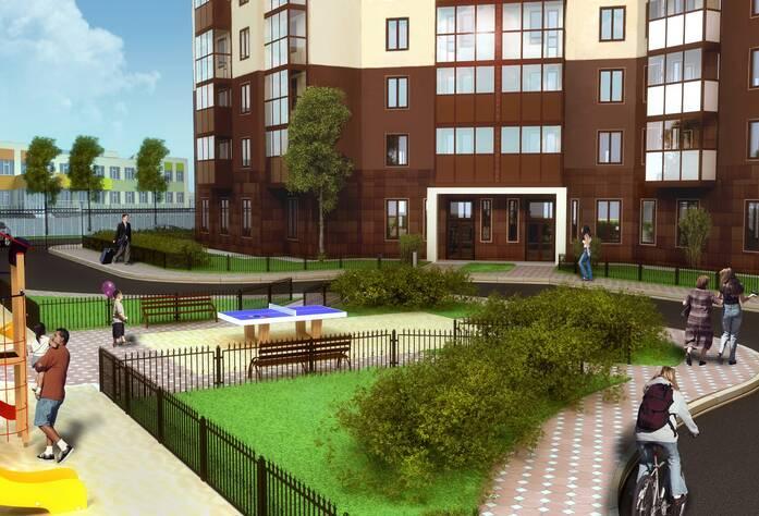 Жилой комплекс «Миллениум»: вид на парадную через двор (визуализация)