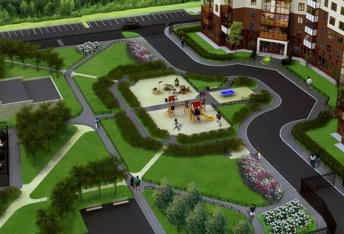 Жилой комплекс «Миллениум»: вид на дворовую территорию (визуализация)