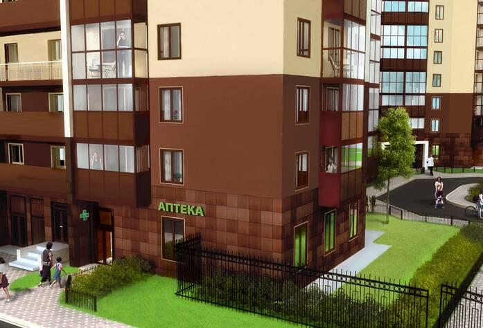Жилой комплекс «Миллениум»: вид на ворота и коммерческие помещения (визуализация)