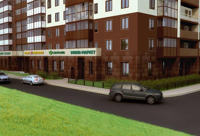 Жилой комплекс «Миллениум»: вид на угол дома и коммерческие помещения (визуализация)