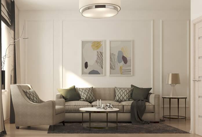 ЖК «Энфилд»: визуализация гостиной(классический стиль)