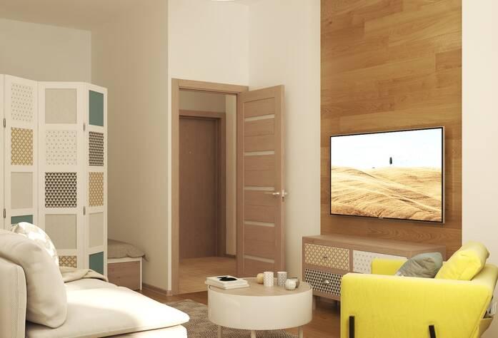 ЖК «Энфилд»: визуализация гостиной(скандинавский стиль)