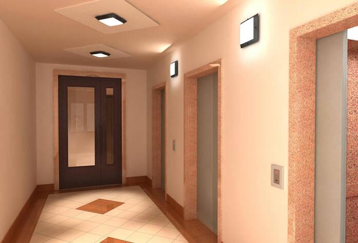 Визуализация интерьера лифтового холла типового этажа в ЖК «Геометрия»