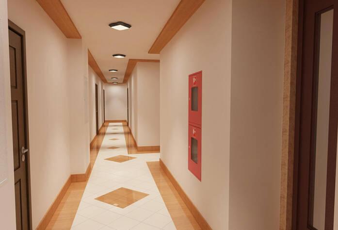 Визуализация интерьера коридора типового этажа в ЖК «Геометрия»