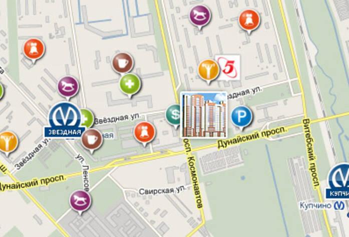 Карта окрестностей жилого комплекса«Дом на Дунайском проспекте»