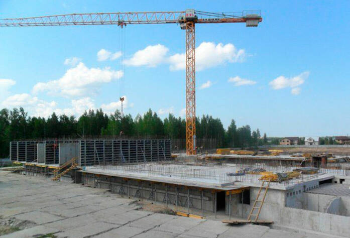<p>&nbsp;Бетонирование стен первого этажа корпус №1. Армирование стен первого этажа корпус №2.</p>